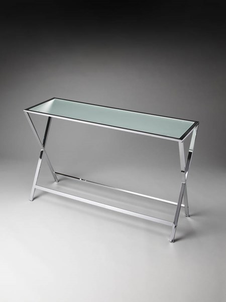 Butler Loft Bergen Silver Chrome Frosted Tempered Glass Console Table BSF-3290307