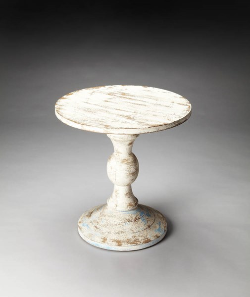 Artifacts Grandma Attic Transitional White Solid Wood Pedestal Table BSF-3313290