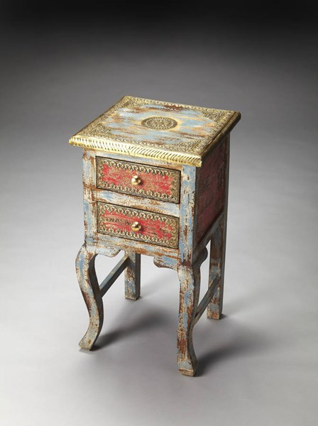 Artifacts Nador Traditional Assorted Wood Brass Chairside Table BSF-3331290