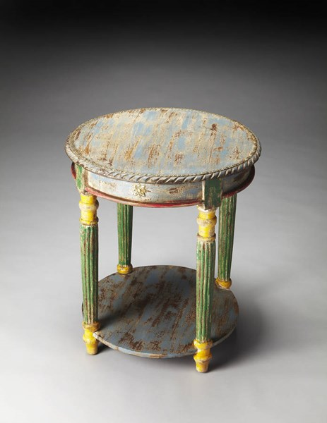 Artifacts Nehru Traditional Hand Painted Solid Wood Accent Table bsf-3335290