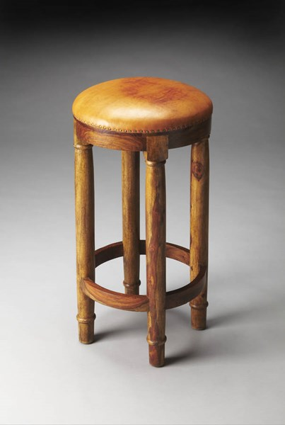Artifacts Carson Transitional Brown Solid Wood MDF Leather Bar Stool bsf-3352290