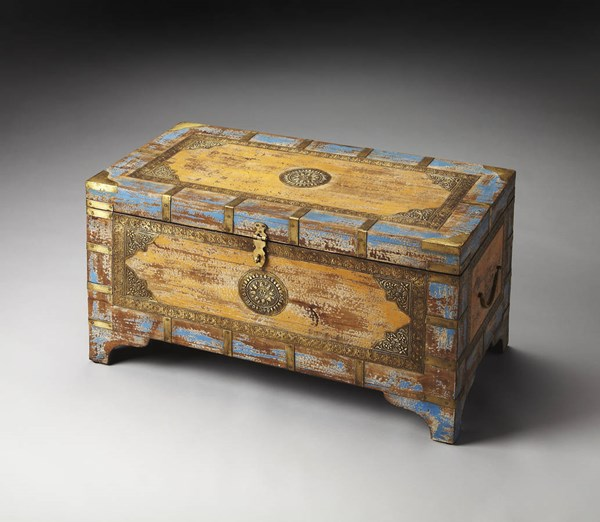 Artifacts Nador Traditional Assorted Wood Brass Storage Trunk BSF-3365290