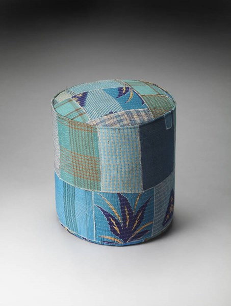 Artifacts Indigo Transitional Blue Patchwork Recycle Fabric Pouffe bsf-3376290