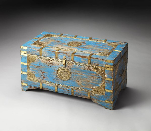 Artifacts Neela Traditional Blue Solid Wood Storage Trunk BSF-3387290