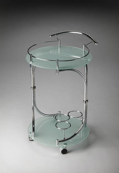 Butler Loft Lola Modern Steel Frosted Tempered Glass Serving Cart BSF-3396140