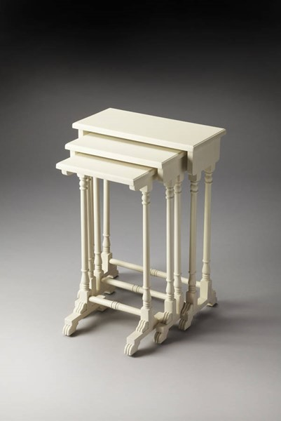 Masterpiece Dunham Cottage White Cherry MDF Rubberwood Nesting Tables BSF-3400222