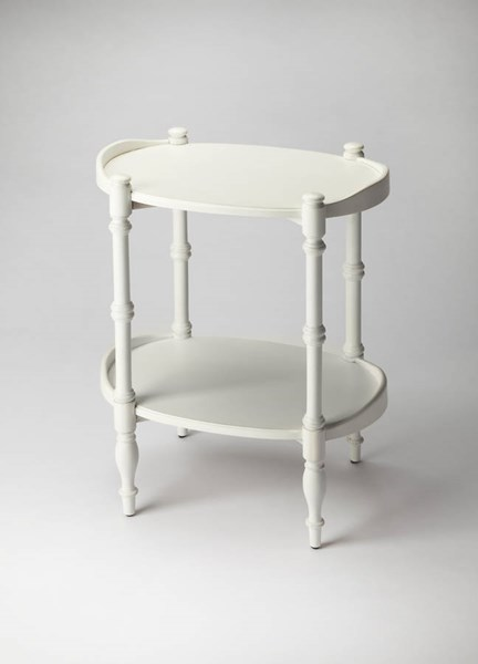 Masterpiece Kirsten Cottage White Rubberwood MDF Oval Side Table BSF-3402222