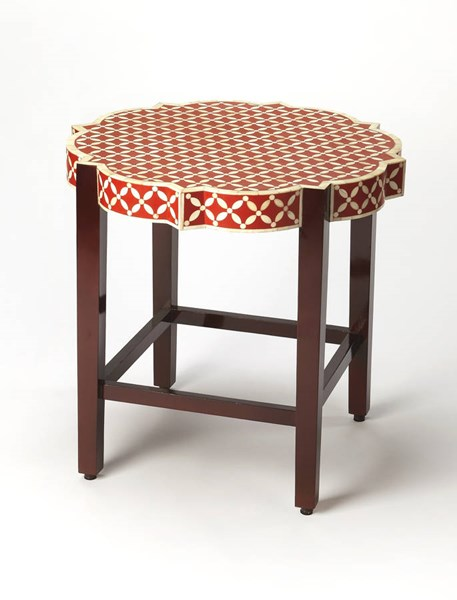 Bone Inlay Anastasia Red Inlay Solid Wood MDF Resin Accent Table BSF-3423328