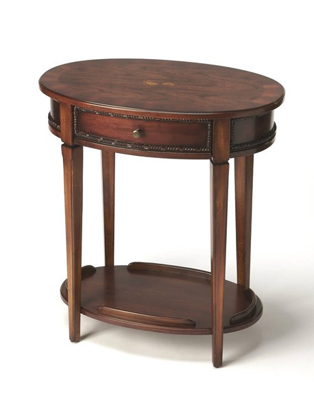 Masterpiece Adelaide Brown Cherry Hardwood MDF Resin Oval Side Table BSF-3425011