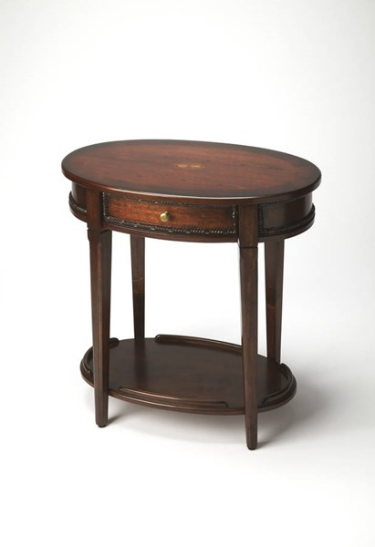 Plantation Cherry Adelaide Poplar Hardwood MDF Resin Oval Side Table BSF-3425024