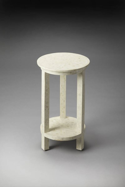 Bone Inlay Transitional White Wood MDF Resin Inlay Accent Table BSF-3439325