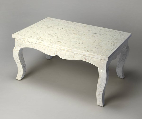 Bone Inlay Traditional White Wood MDF Resin Inlay Cocktail Table bsf-3446325