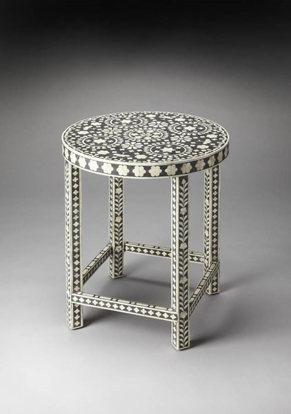 Bone Inlay Traditional Black Wood MDF Resin Inlay Round Accent Table BSF-3448318