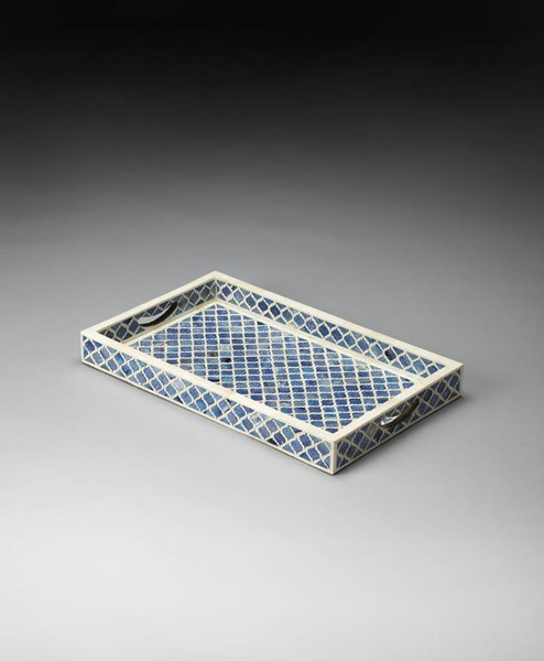 Hors D Oeuvres Transitional Blue Bone Inlay Serving Tray BSF-3473016