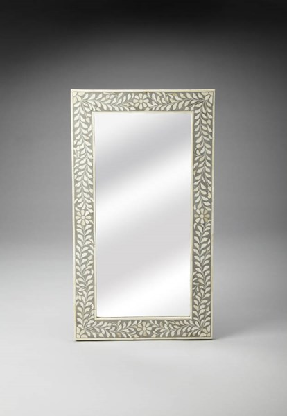 Bone Inlay Traditional Grey Blend Wood MDF Resin Inlay Wall Mirror BSF-3479321
