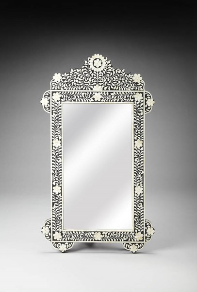 Bone Inlay Traditional Black Wood Resin Inlay Rectangle Wall Mirror bsf-3481318