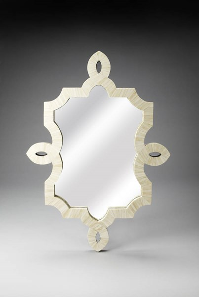 Bone Inlay Traditional White Blend Wood MDF Resin Inlay Wall Mirror BSF-3484325