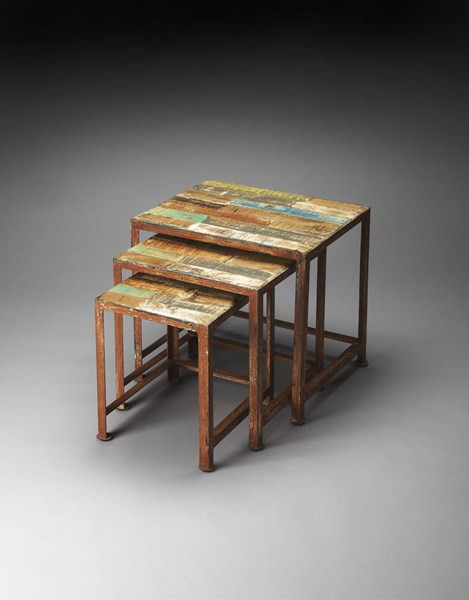Artifacts Decatur Transitional Recycled Wood Iron Nesting Tables BSF-3495290
