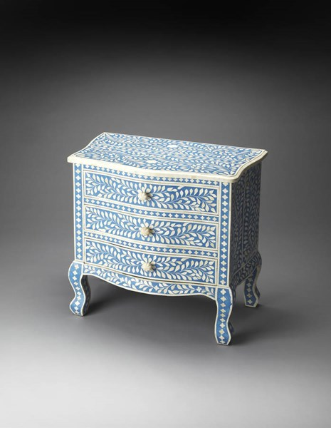 Bone Inlay Traditional Blue Wood MDF Resin Inlay Accent Chest bsf-3496319