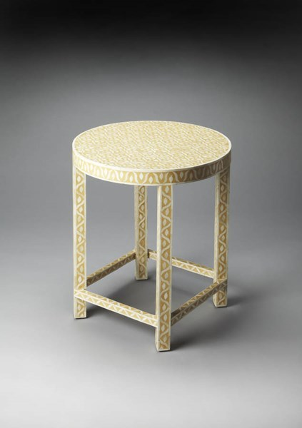 Bone Inlay Transitional Yellow Cream Wood MDF Resin Inlay Accent Table bsf-3499328