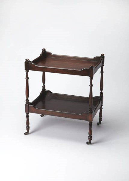 Plantation Cherry Traditional Dark Brown Rubberwood MDF Serving Cart BSF-3523024