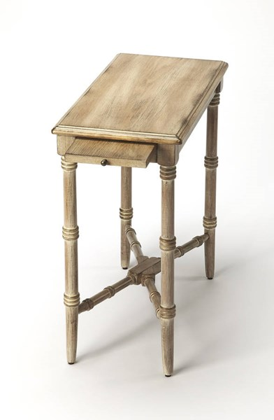 Masterpiece Skilling Gray Driftwood Rubberwood MDF Chairside Table BSF-3531247