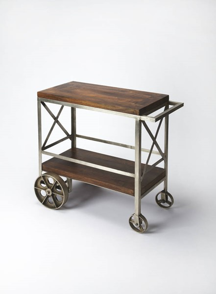 Industrial Chic Modern Iron Solid Wood Trolley Server BSF-3541330