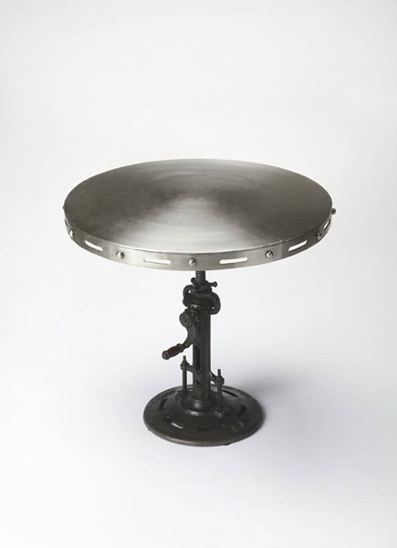 Industrial Chic Transitional Silver Iron Crank Accent Table BSF-3542330