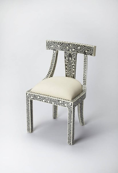 Bone Inlay Traditional Black Inlay Solid Wood MDF Resin Accent Chair BSF-3557318