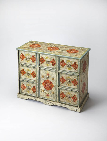 Artifacts Traditional Hand Painted Solid Wood MDF Accent Chest BSF-3566290
