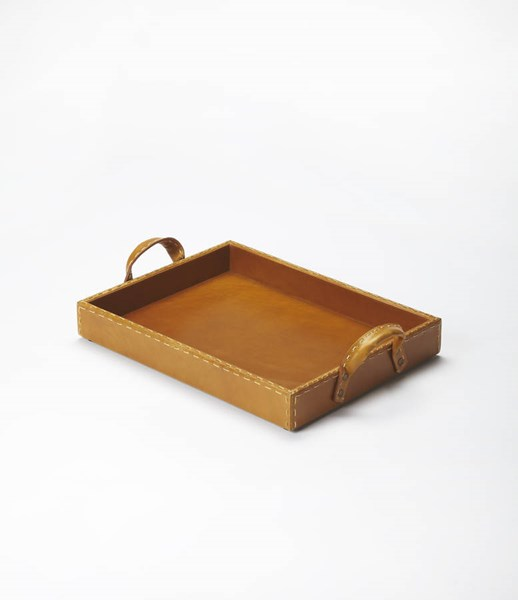 Hors D Oeuvres Transitional Light Brown MDF Leather PVC Serving Tray BSF-3574016