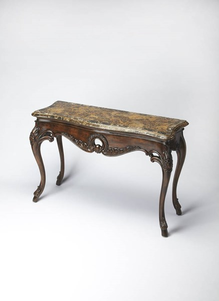 Connoisseur Traditional Fossil Stone Console Table bsf-3579090