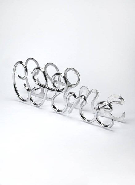 Hors D Oeuvres Modern Silver Aluminum Curving Swirling Wine Rack BSF-3588016