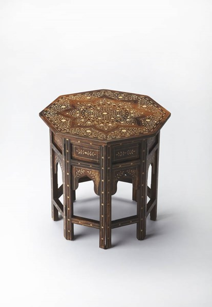 Bone Inlay Traditional Medium Brown Solid Wood Accent Table BSF-3596338