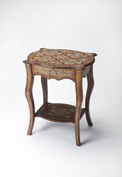 Bone Inlay Traditional Medium Brown Solid Wood Side Table bsf-3597338