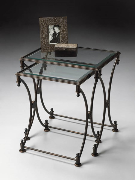 Metalworks Transitional Black Metal Beveled Glass Top Nesting Tables BSF-4012025
