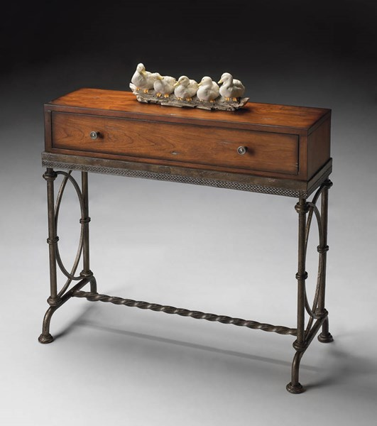 Masterpiece Cherry Dark Grey Solid Wood Metal Base Console Table BSF-4013102
