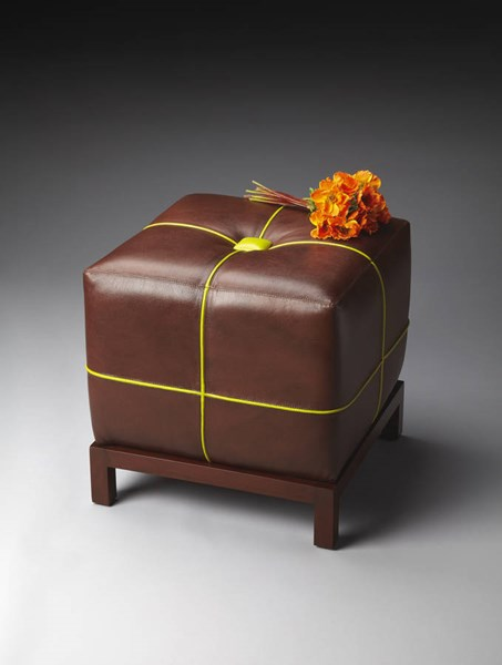 Modern Expressions Brown Leather Wood MDF Bunching Ottoman bsf-4064260