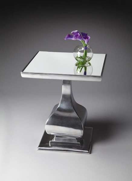 Modern Expressions Transitional Nickel-Plated Glass Top Accent Table bsf-4082220