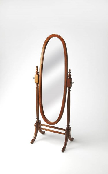 Masterpiece Caroline Medium Brown Rubberwood MDF Cheval Mirror BSF-4109101
