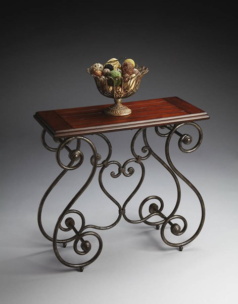 Metalworks Traditional Cherry Black Swirling Metal Base Console Table bsf-4139025