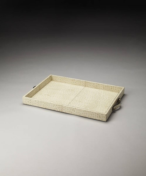 Hors D Oeuvres Grazie Modern Beige Leather MDF Cardboard Serving Tray BSF-4203016