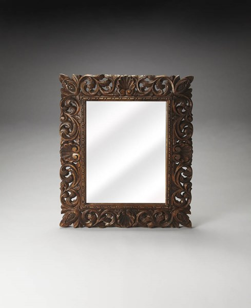 Artifacts Ferdinand Traditional Brown Solid Wood Glass Wall Mirror bsf-4217290