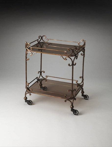 Metalworks Delphine Traditional Bronze Iron Glass Serving Cart BSF-4234025