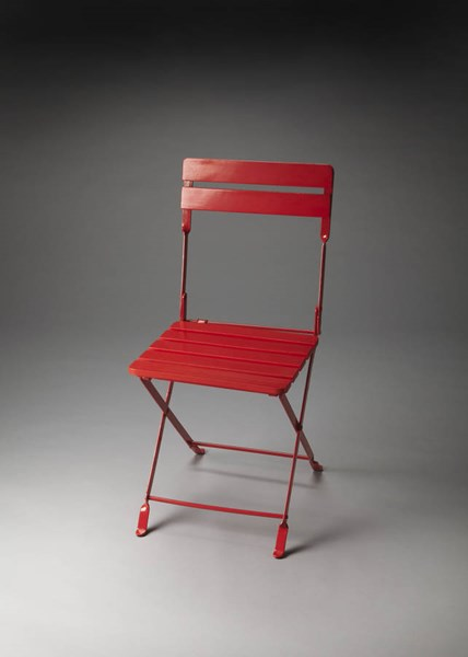 Industrial Chic Bailey Transitional Red Iron Solid Wood Folding Chair bsf-4236293
