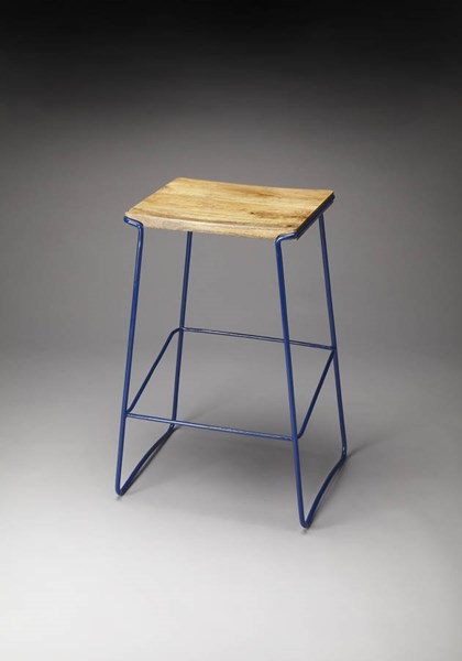 Butler Loft Parrish Transitional Wood Blue Metal Legs Bar Stool BSF-4271291