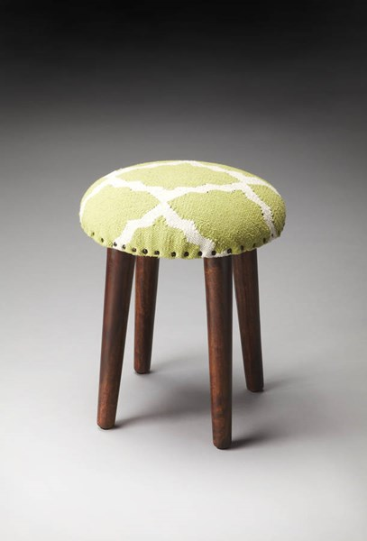 Accent Seating Rochon Transitional Green Cotton Wood Upholstered Stool BSF-4296980