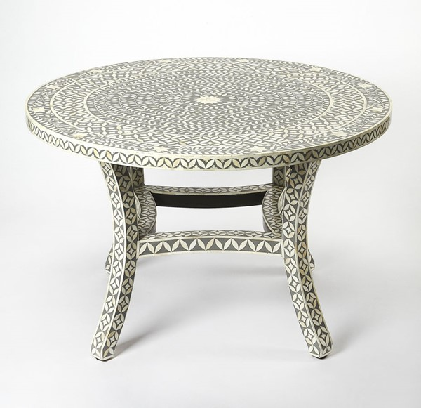 White And Gray Bone Inlay Accent Table: Butler Specialty Bone Inlay Amelia Gray Dining Table
