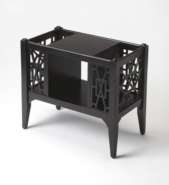 Masterpiece Chippendale Black Licorice Cherry MDF Magazine Basket BSF-5002111