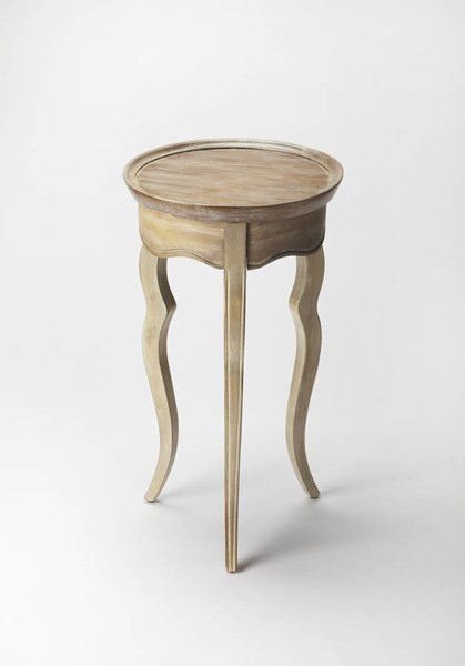 Masterpiece Sophia Gray Driftwood Rubberwood MDF Resin Accent Table BSF-5007247